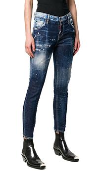 Укороченные джинсы Dsquared2 темно-синего цвета, фото