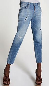 Голубые джинсы Dsquared2 с аппликацией на заднем кармане, фото