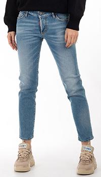 Укороченные джинсы Dsquared2 голубого цвета, фото