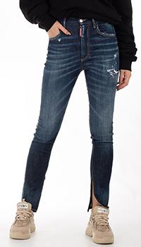 Синие джинсы Dsquared2 с разрезом, фото