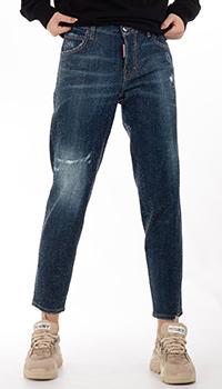 Синие джинсы Dsquared2 со стразами, фото