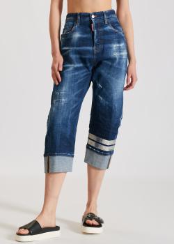 Синие джинсы Dsquared2 с серебристыми полосками, фото