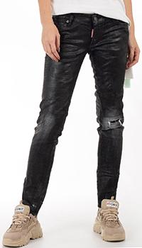 Черные джинсы Dsquared2 с фактурным логотипом на штанине, фото