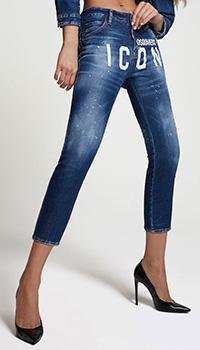 Синие джинсы Dsquared2 Icon с брендовым принтом, фото