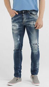 Рваные джинсы Frankie Morello с потертостями, фото