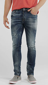 Синие джинсы Frankie Morello с потертостями, фото