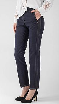 Зауженные джинсы Peserico синего цвета с коричневыми строчками, фото