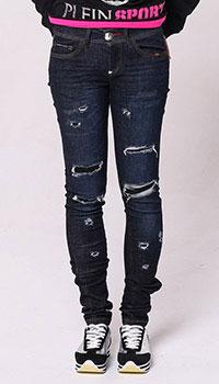 Рваные узкие джинсы Philipp Plein темно-синего цвета, фото