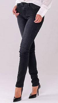Темно-серые скинни Love Moschino с брендовым декором на кармане, фото