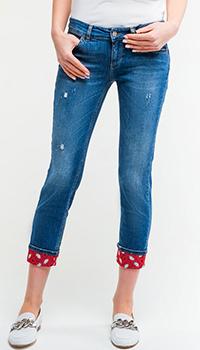 Синие джинсы Liu Jo с цветными отворотами, фото