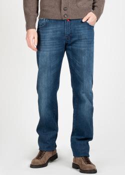 Синие джинсы Kiton с эффектом потертости, фото