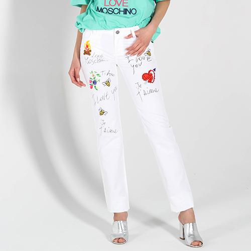 Белые джинсы Love Moschino из тонкого коттона, фото