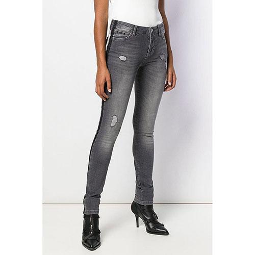Серые джинсы Philipp Plein Slim Fit с лампасами, фото