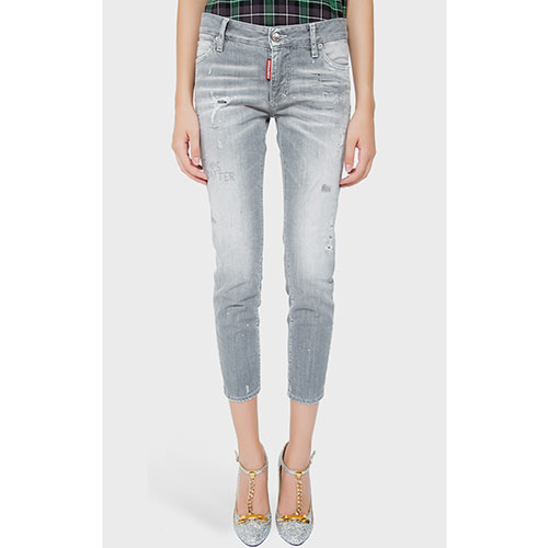 Серые джинсы Dsquared2 с эффектом потертости, фото