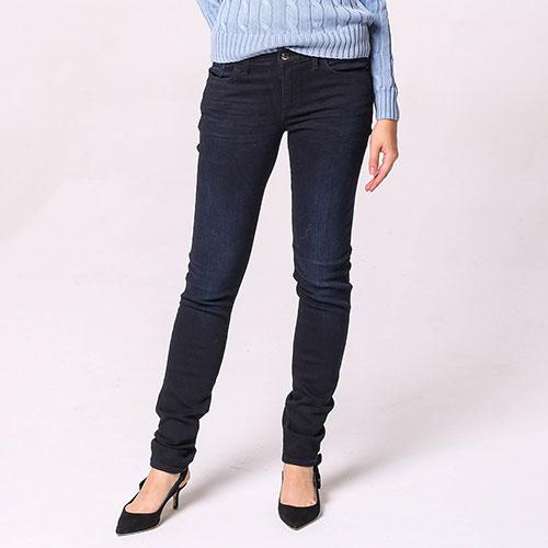 Узкие джинсы Emporio Armani темно-синего цвета, фото