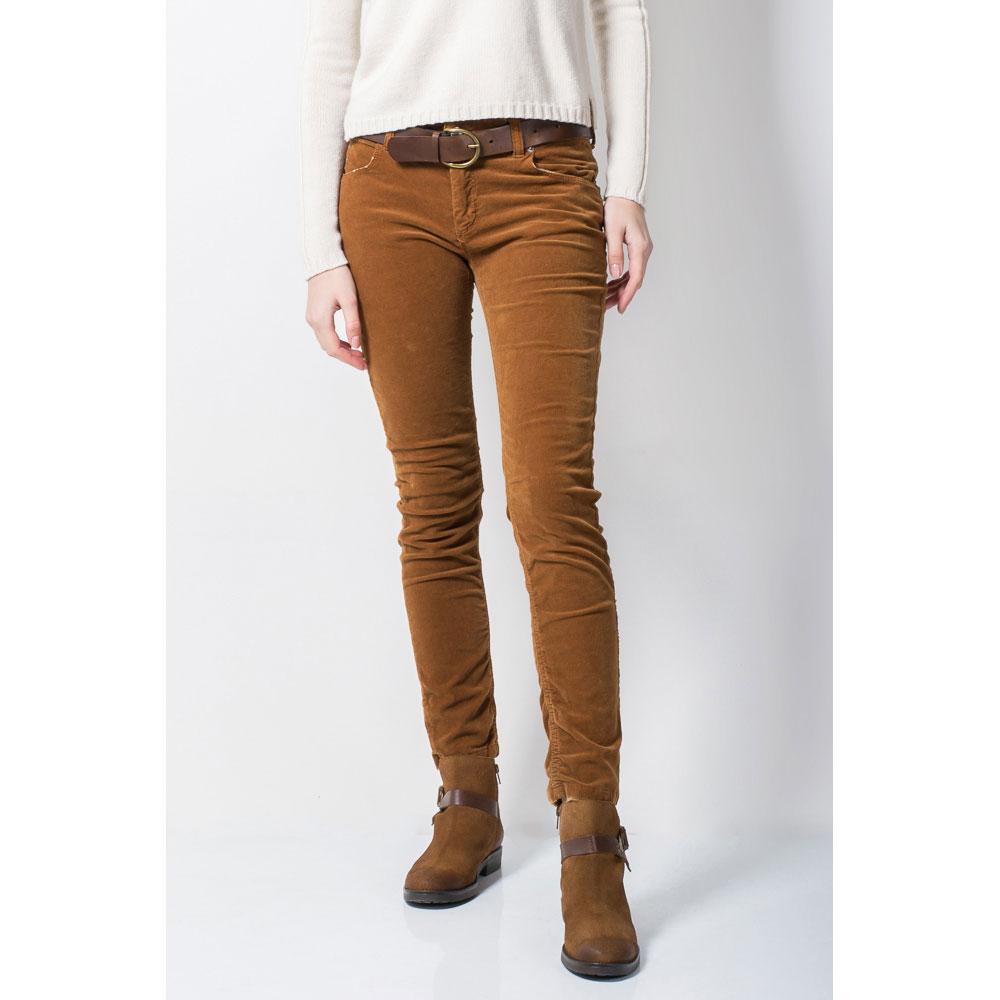Велюровые джинсы Tensione in коричневого цвета