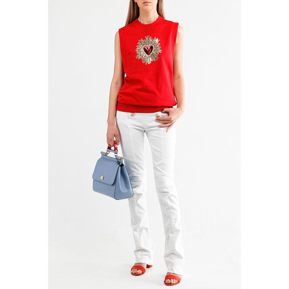 Белые джинсы Balmain с золотистыми пуговицами