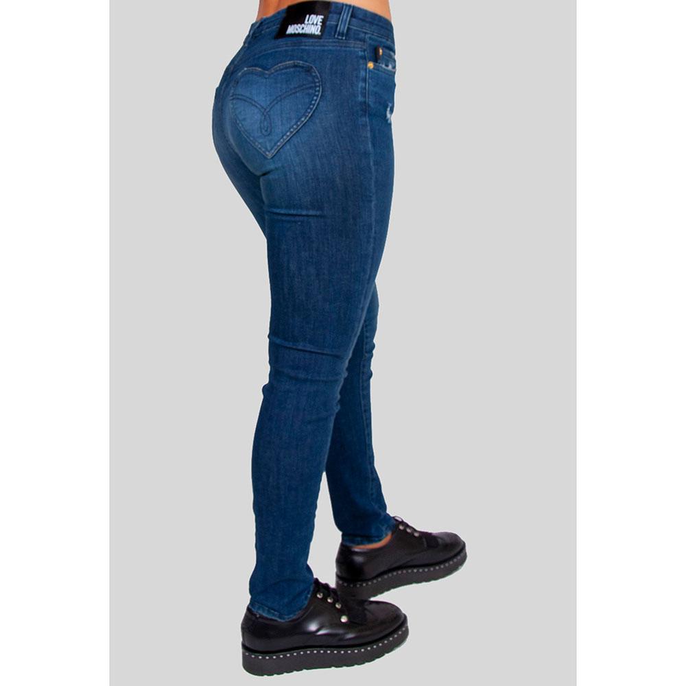 Синие джинсы Love Moschino с карманами в виде сердец