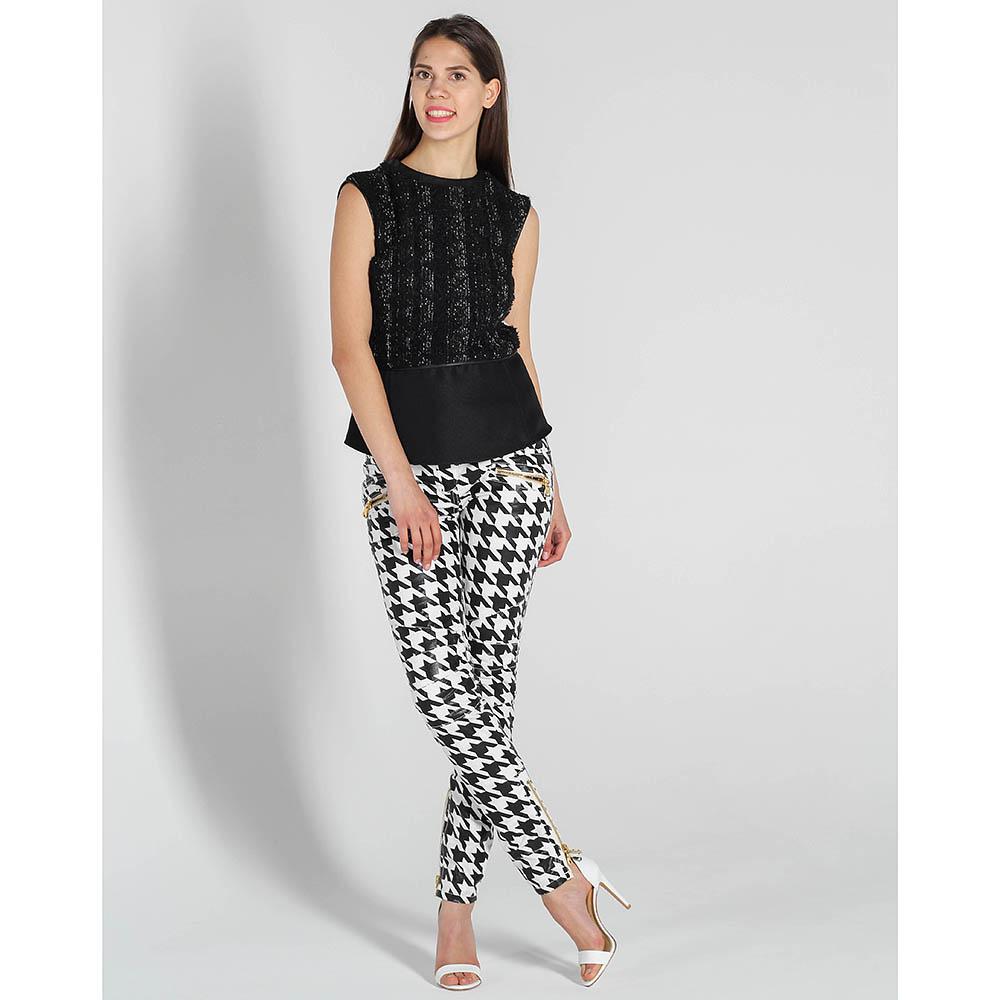 Зауженные черно-белые джинсы Balmain