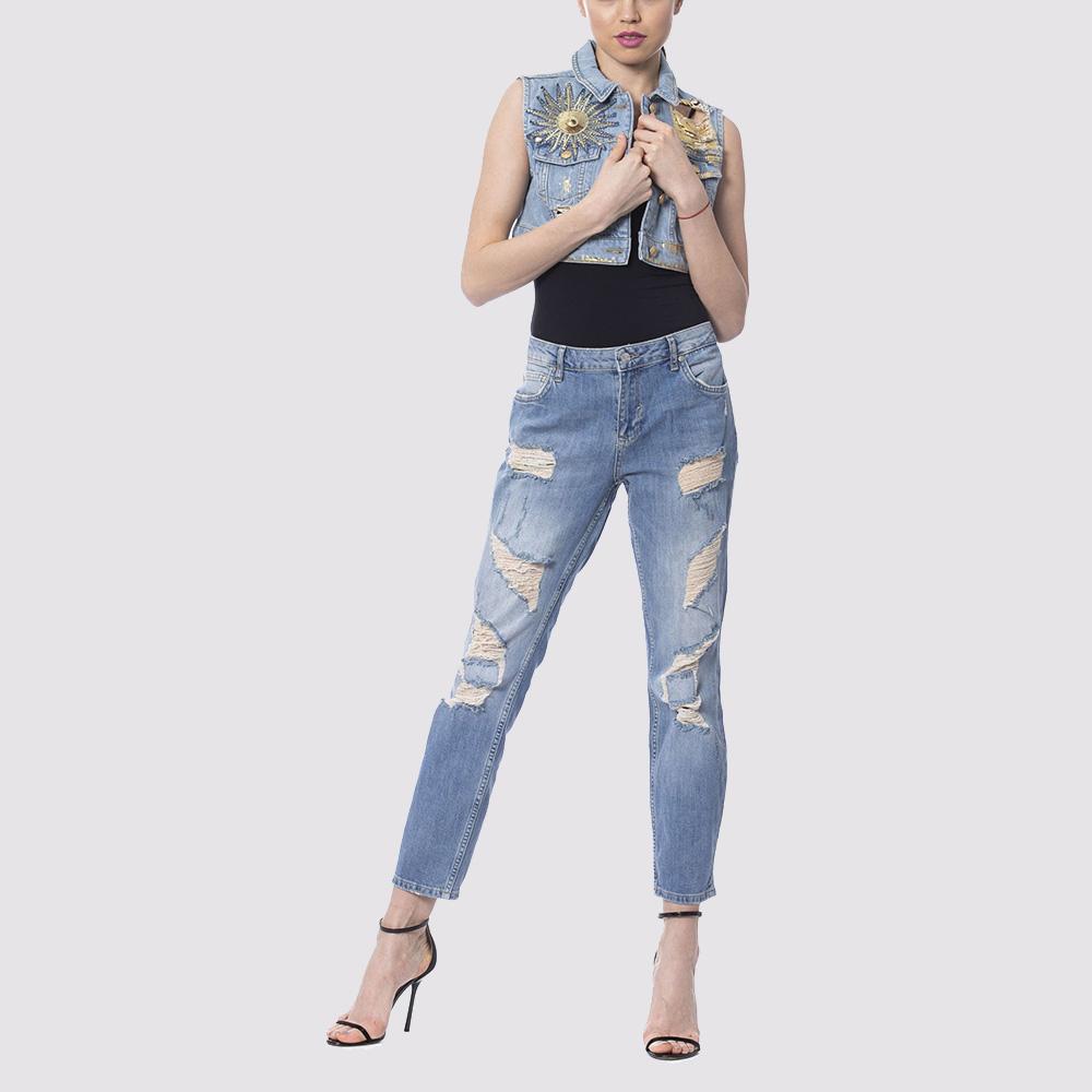 Рваные джинсы Silvian Heach светло-голубого цвета