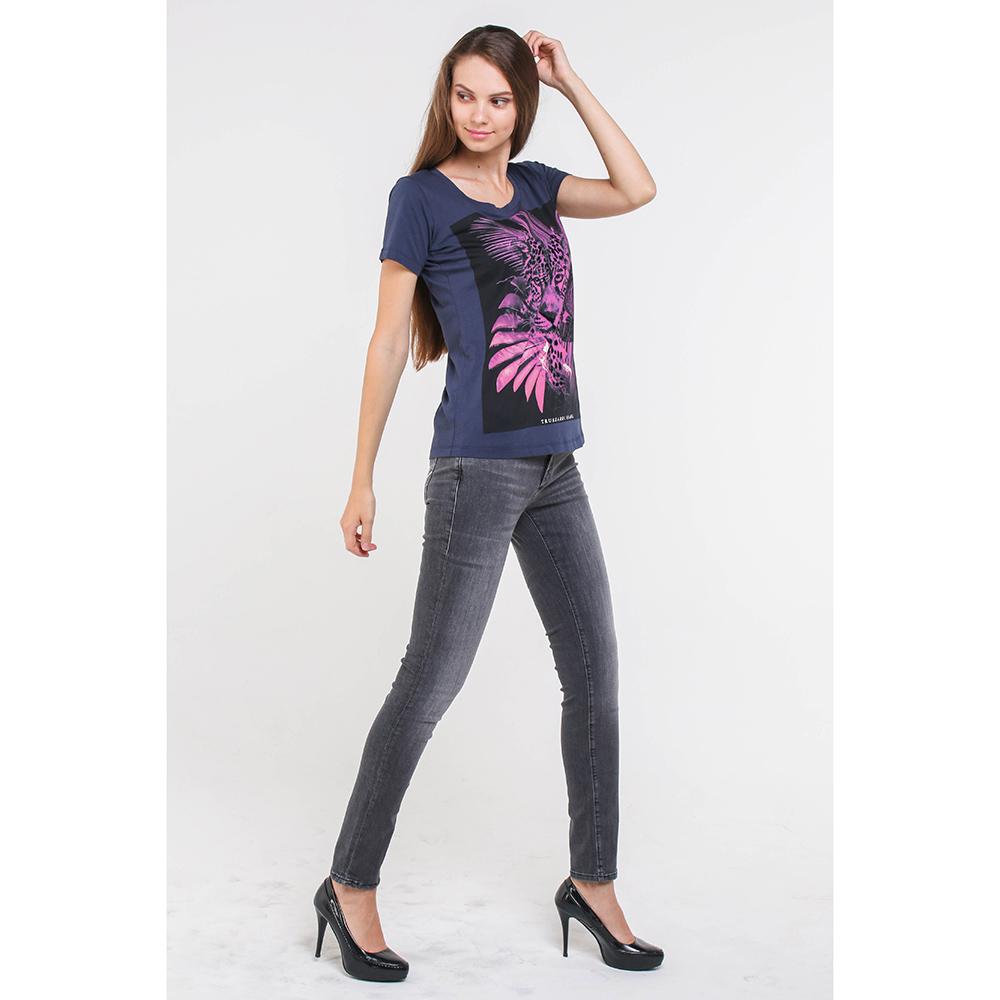 Серые джинсы Trussardi Jeans с декором-стразами