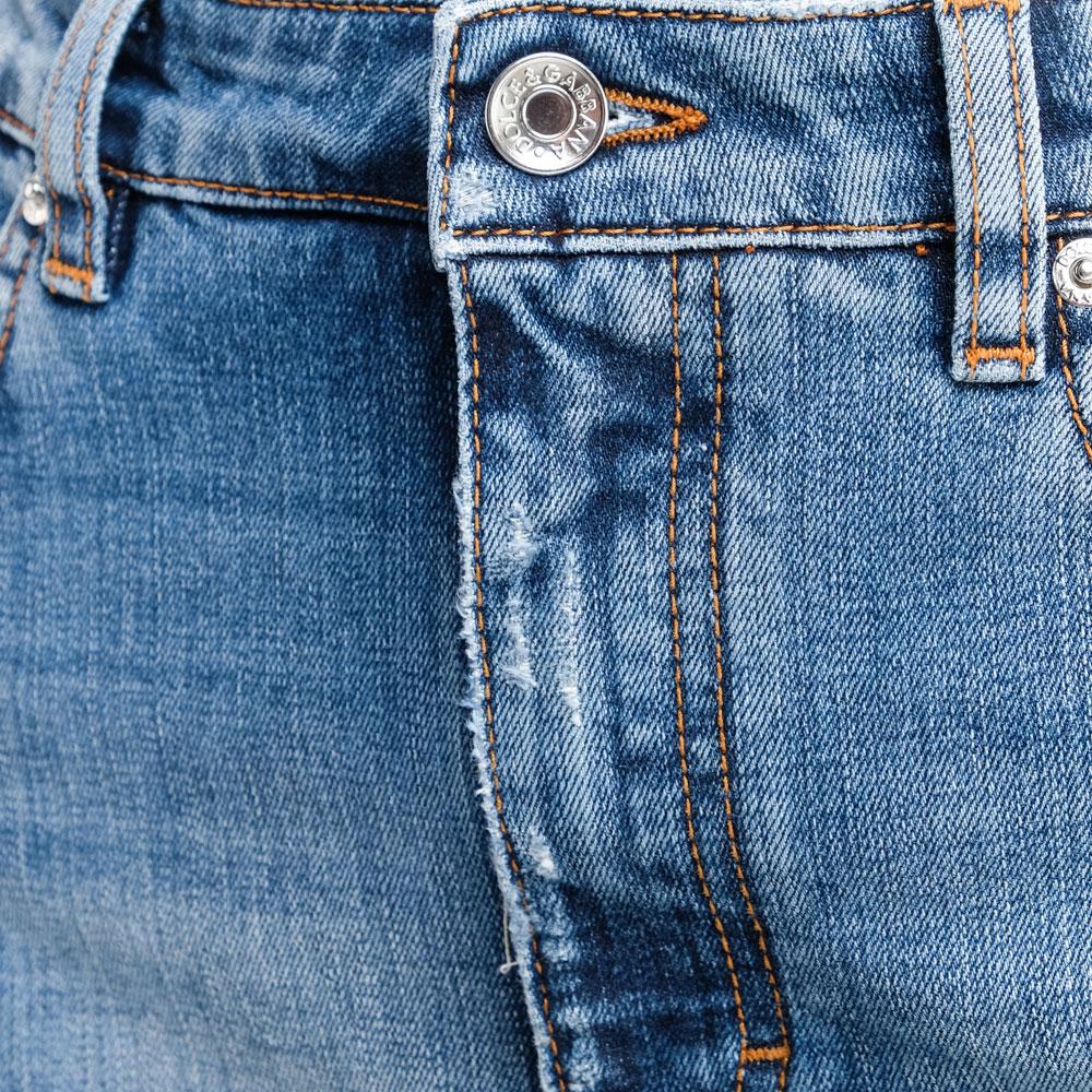 Голубые джинсы Dolce&Gabbana с потертостями