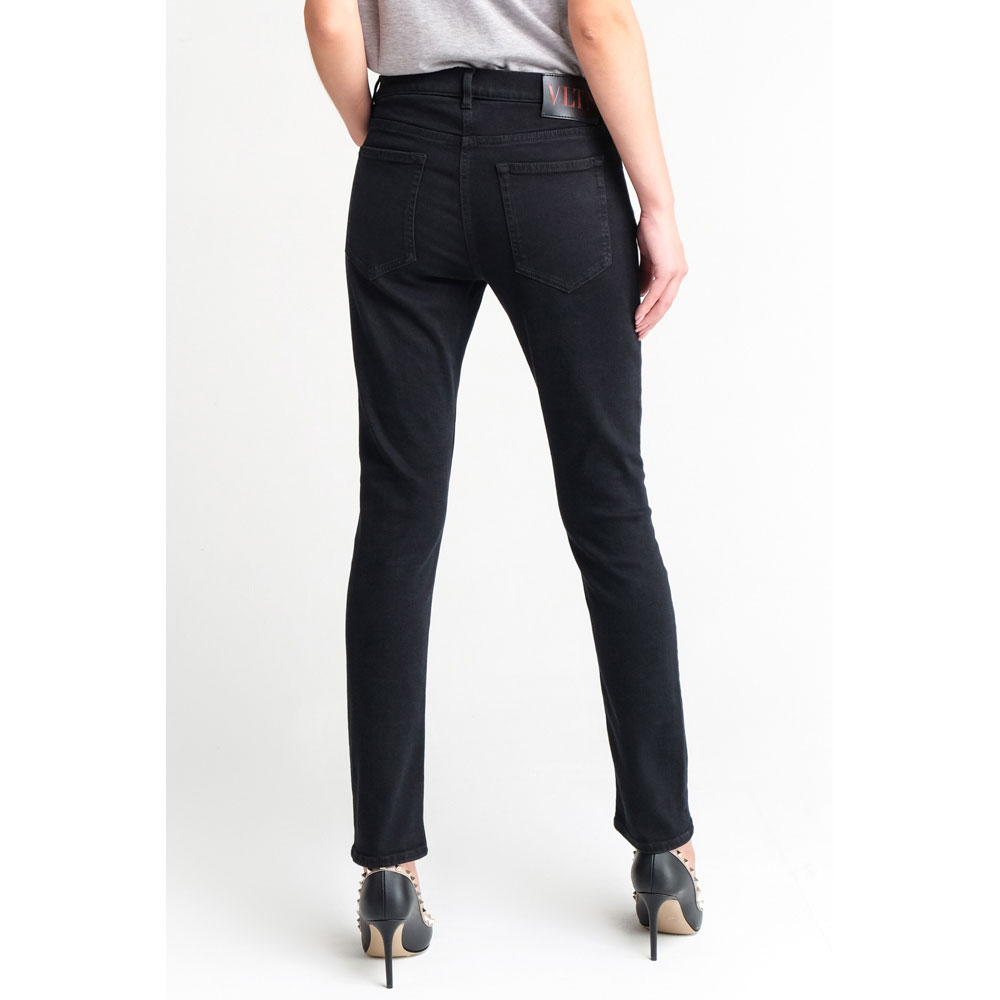 Прямые джинсы Valentino черного цвета