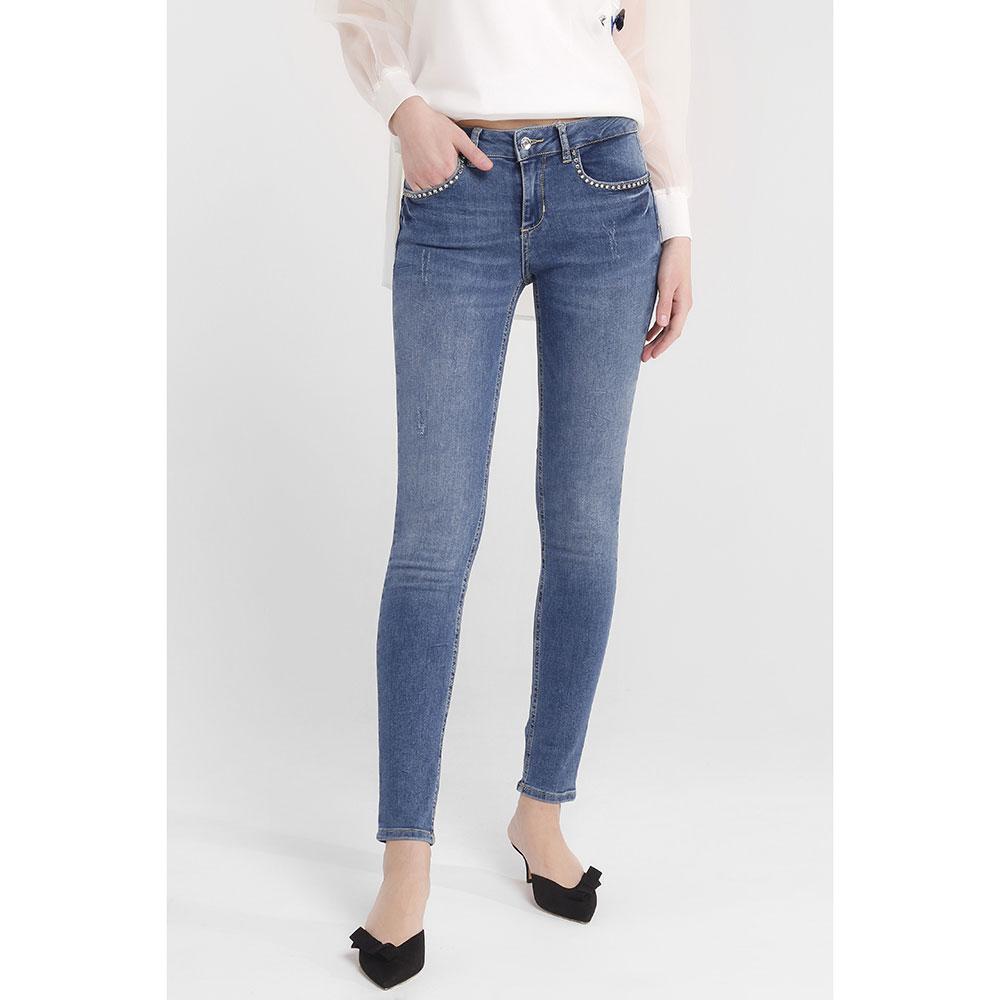 Синие джинсы Liu Jo со стразами на карманах