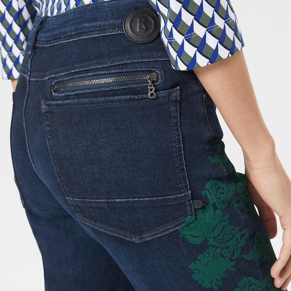 Укороченные джинсы Bogner Florinda с зеленым цветочным принтом