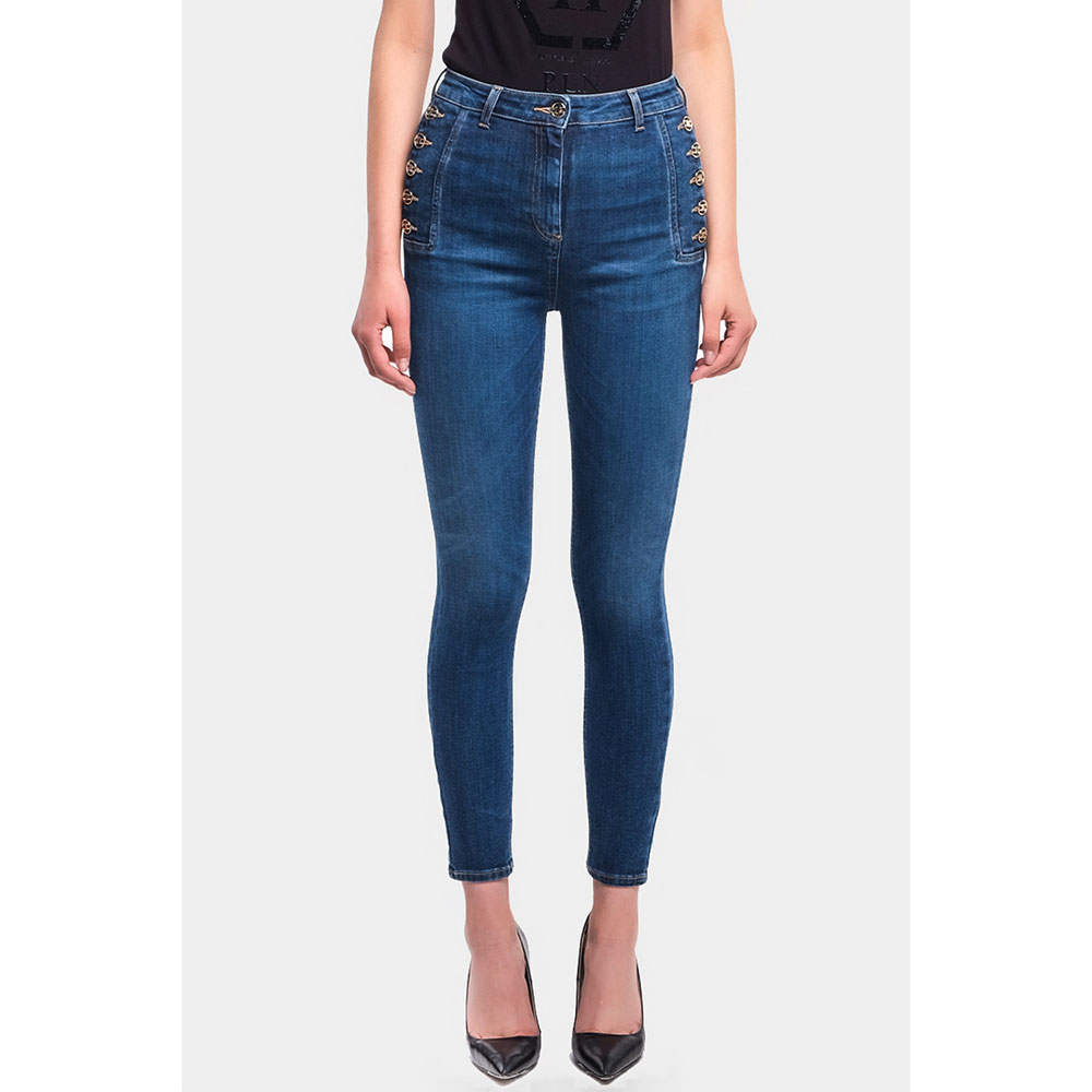 Узкие джинсы Elisabetta Franchi с боковыми пуговицами
