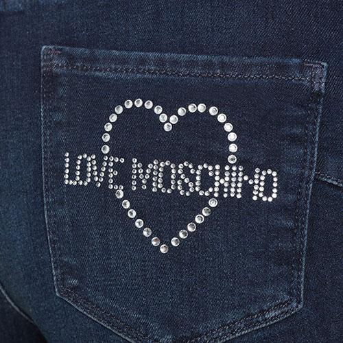 Джинсы Love Moschino с логотипом из страз