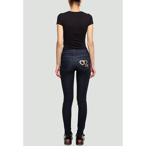 Синие джинсы Love Moschino с золотистым лого