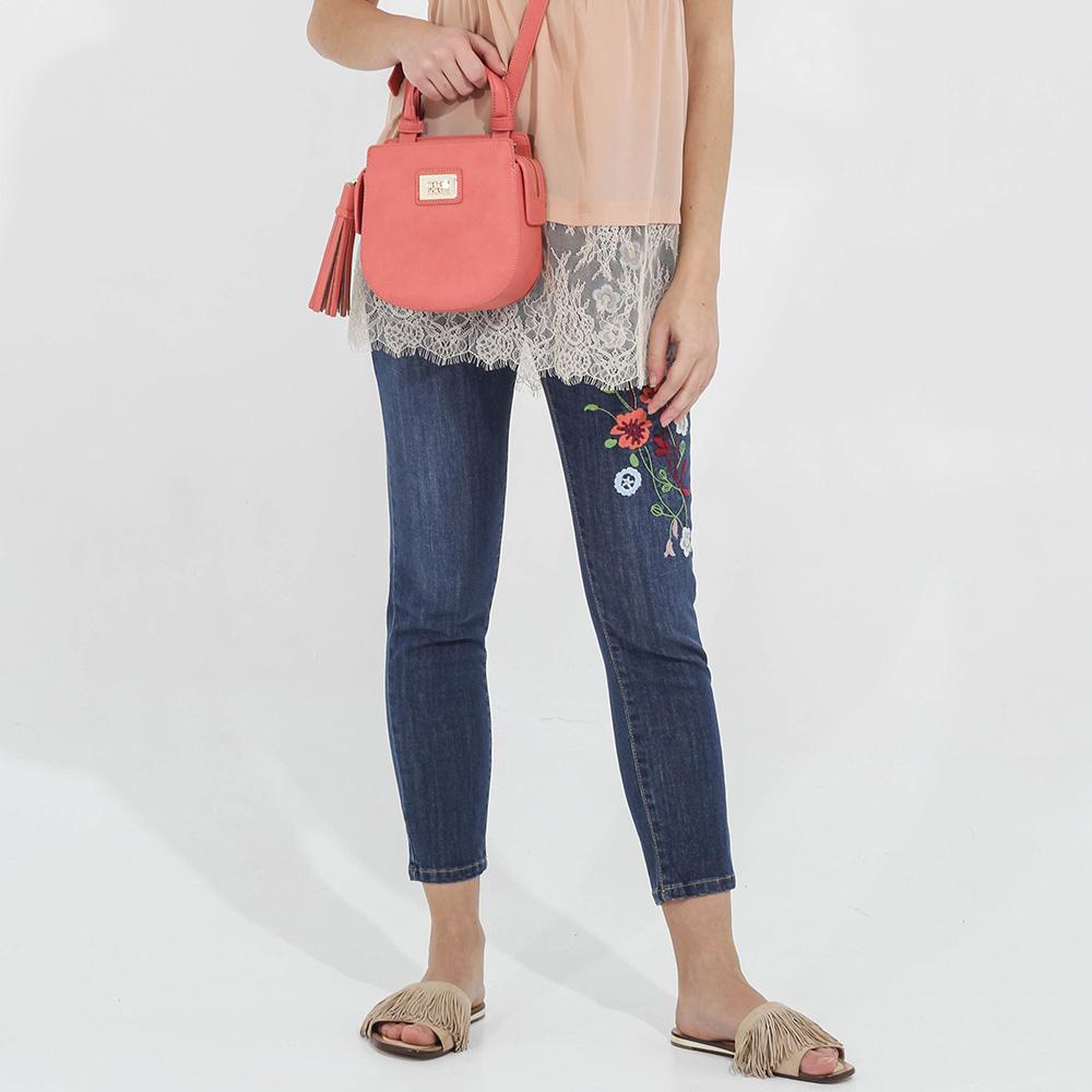 Укороченные скинни Blugirl Blumarine с цветочной вышивкой