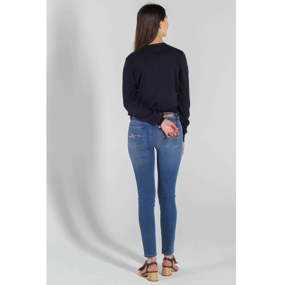 Синие скинни Trussardi Jeans с заниженной талией