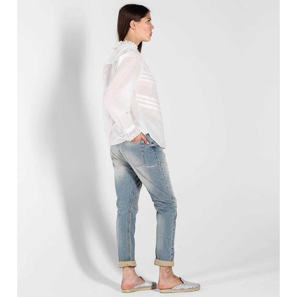 Рваные джинсы-бойфренды Twin-Set голубого цвета