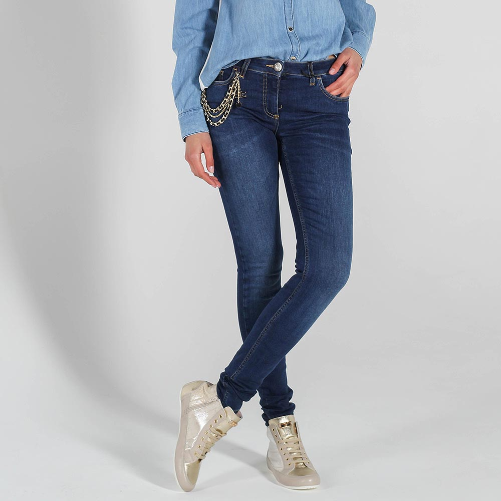 Джинсы-скинни Elisabetta Franchi синего цвета с цепочками