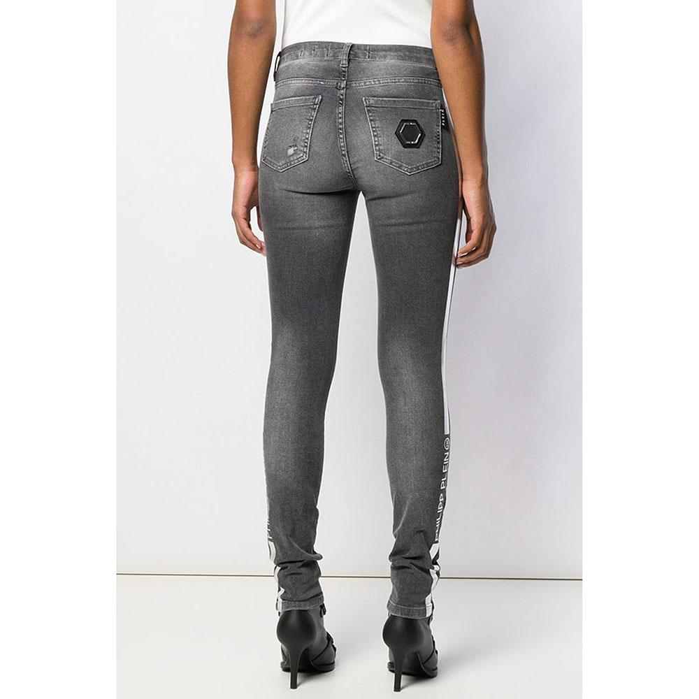 Серые джинсы Philipp Plein Slim Fit с лампасами