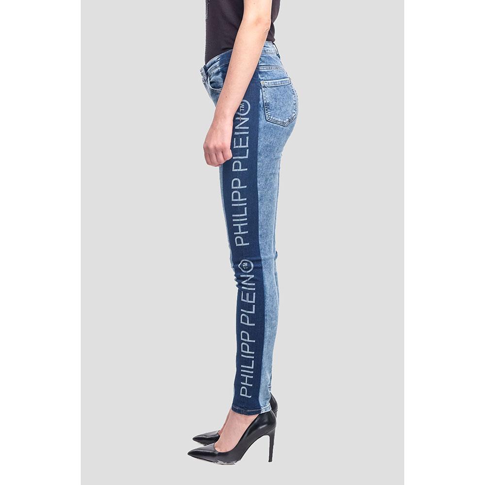 Синие джинсы Philipp Plein с лампасами-лого