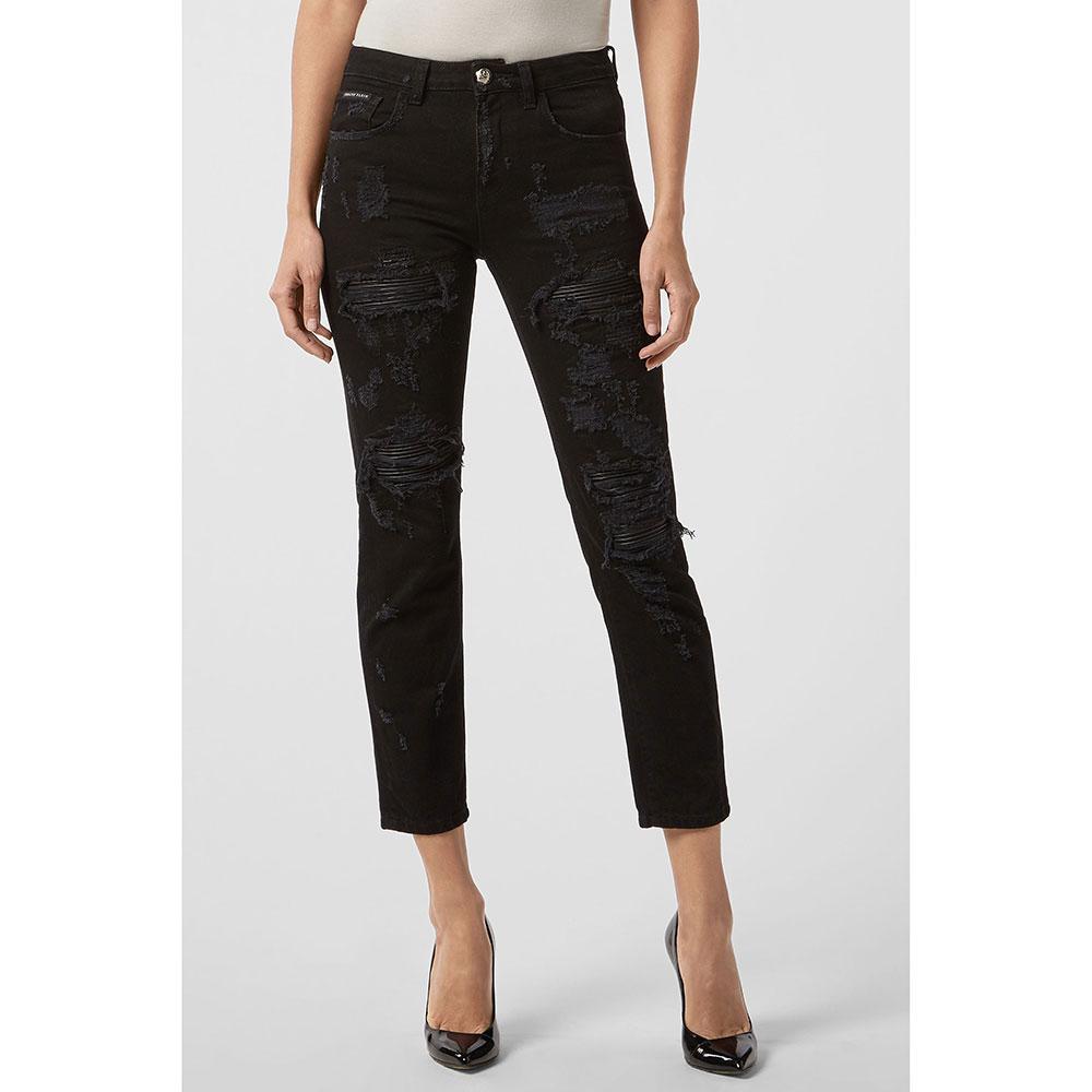 Черные джинсы Philipp Plein рваные