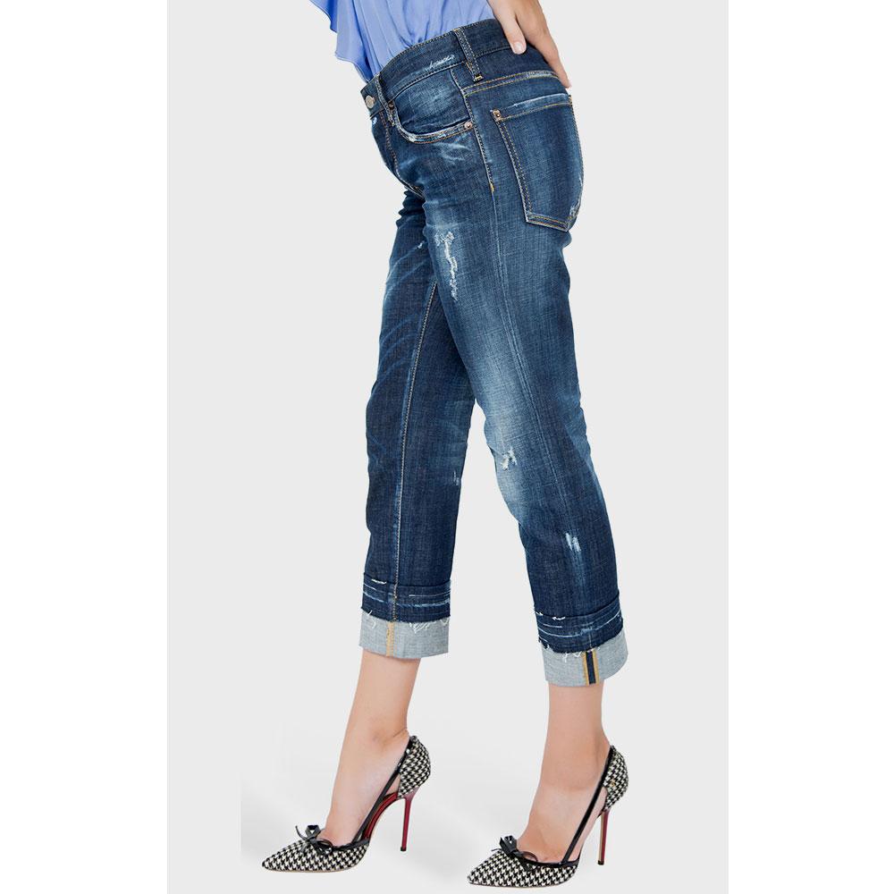 Потертые джинсы Dsquared2 синего цвета
