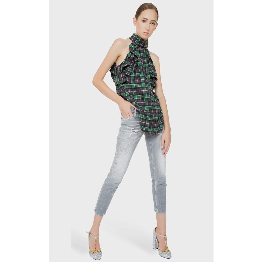 Серые джинсы Dsquared2 с эффектом потертости