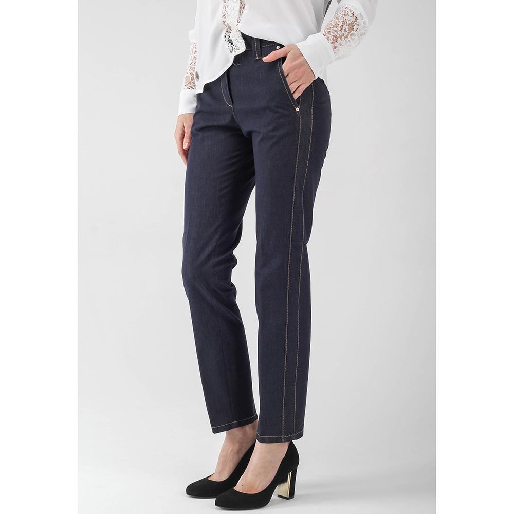 Зауженные джинсы Peserico синего цвета с коричневыми строчками