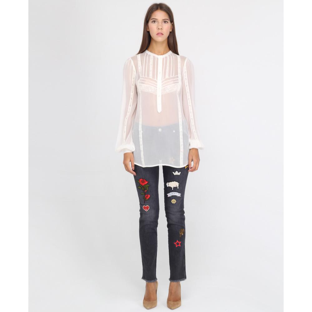 Серые узкие джинсы Ermanno Ermanno Scervino с цветными нашивками