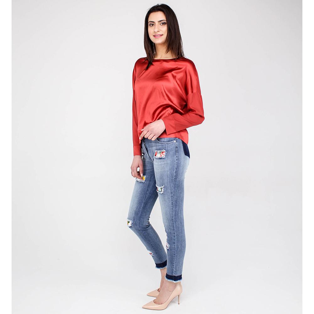 Светлые узкие джинсы Blumarine с яркими вставками