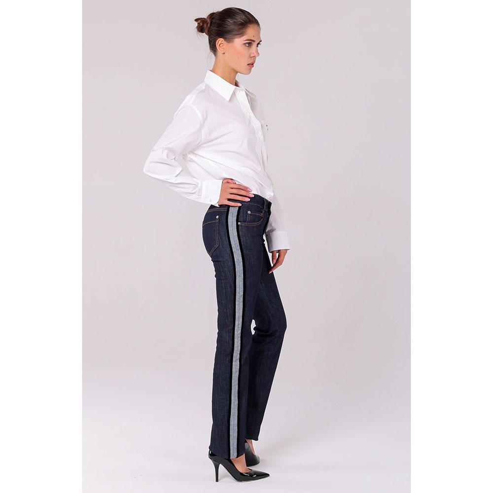 Прямые джинсы Red Valentino темно-синего цвета с лампасами