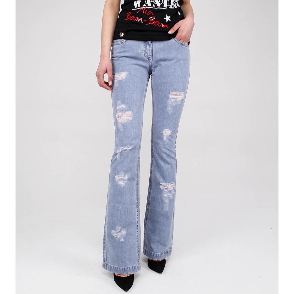 Расклешенные джинсы Blumarine голубого цвета