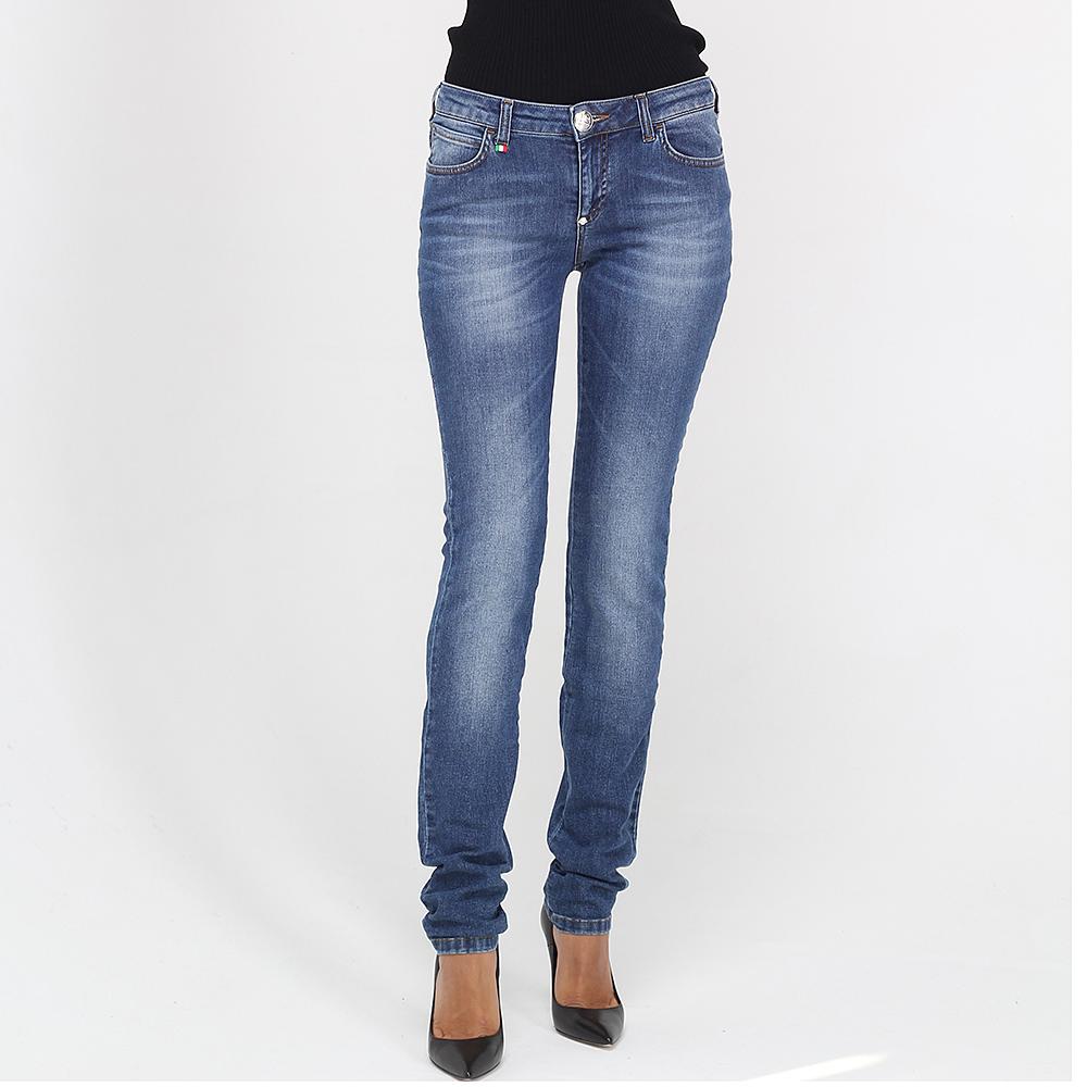 Узкие джинсы Philipp Plein с потертостями по длине