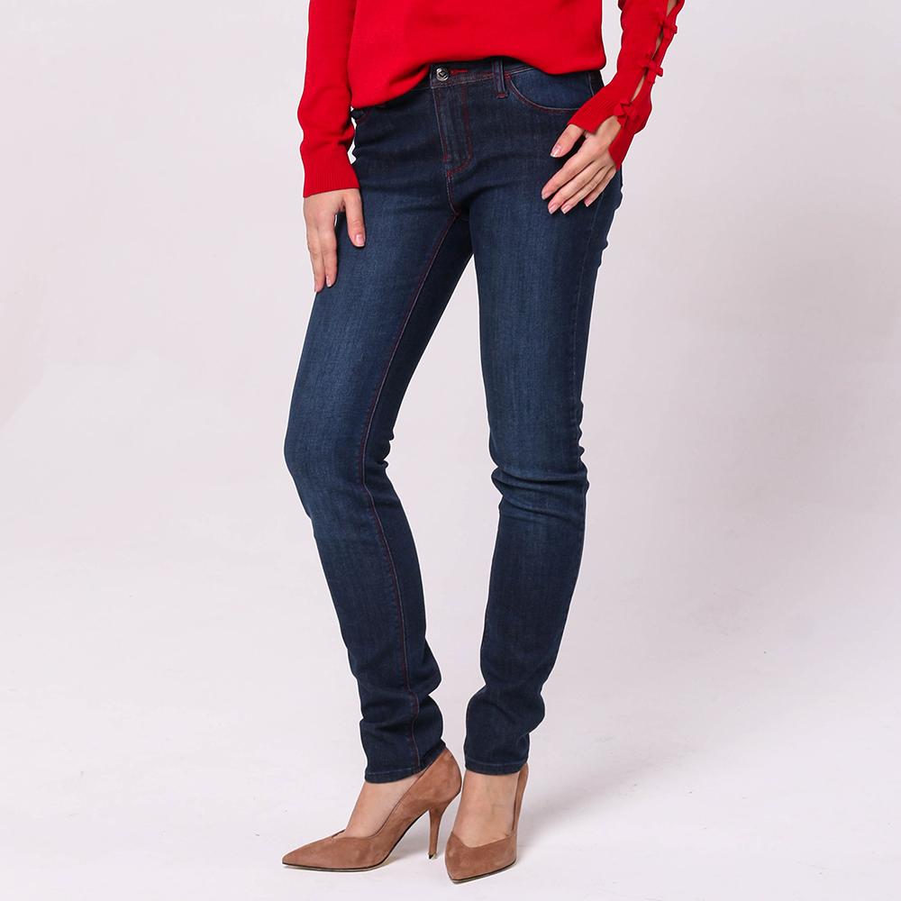 Узкие синие джинсы Emporio Armani с красными строчками