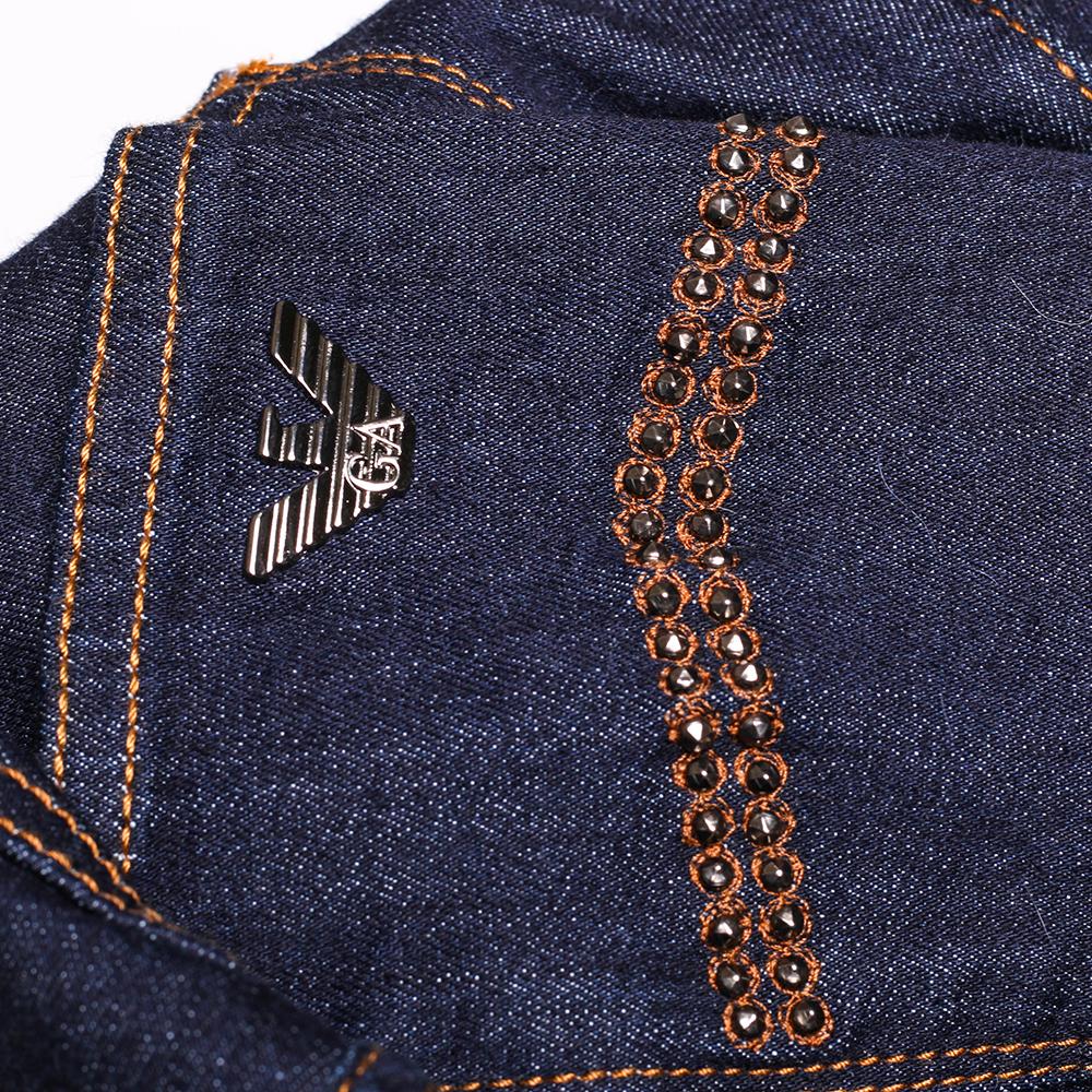 Зауженные джинсы Emporio Armani темно-синего цвета