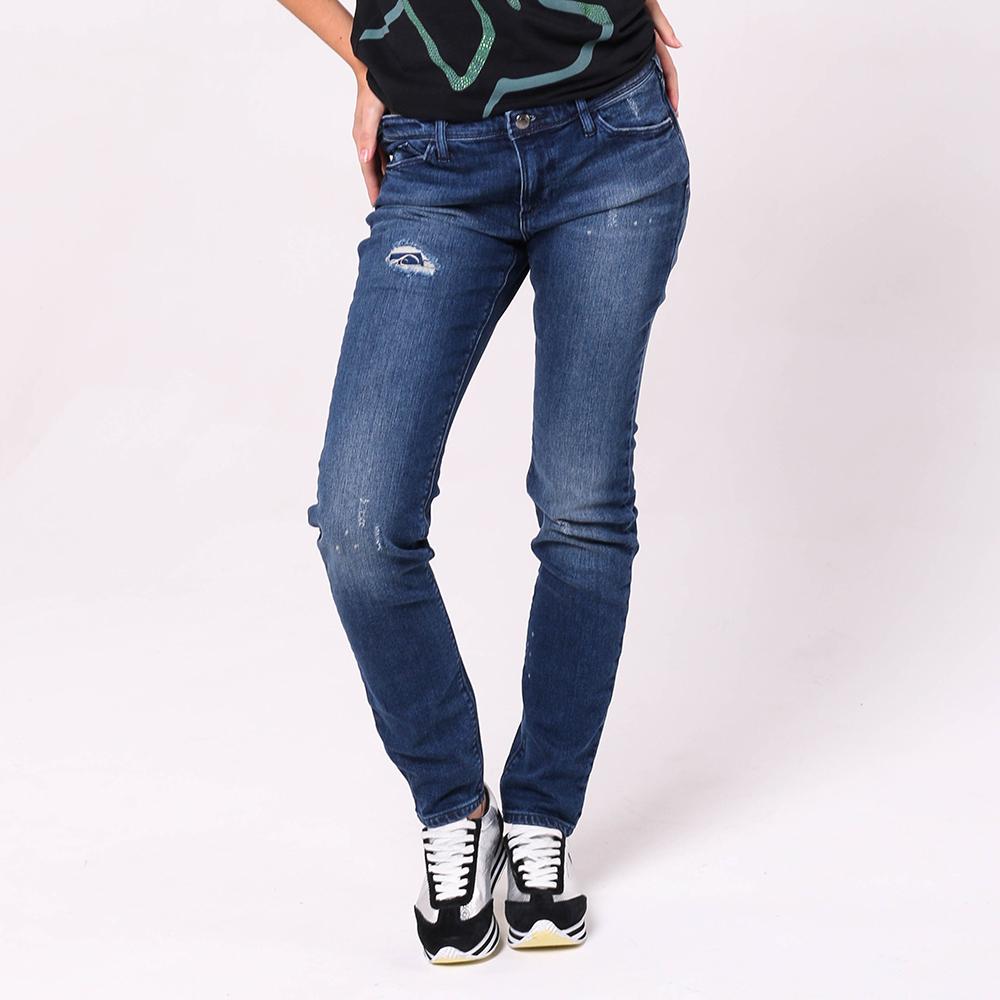 Рваные джинсы Emporio Armani синего цвета